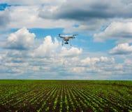 Vista panoramica delle linee di tiri dei giovani sul grande campo con quadrocopter Fotografie Stock