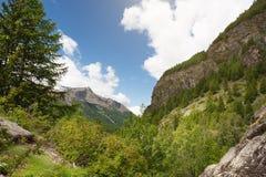 Vista panoramica delle montagne del parco di Gran Paradiso, Italia Fotografie Stock