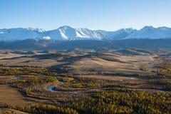 Vista panoramica delle montagne della cresta di Altai-Chuya, Siberia Fotografia Stock Libera da Diritti