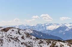 Vista panoramica delle montagne delle alpi delle dolomia Fotografia Stock Libera da Diritti