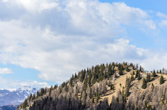 Vista panoramica delle montagne delle alpi delle dolomia vicino a Trento in Italia Fotografia Stock
