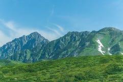 Vista panoramica delle montagne di estate Immagine Stock