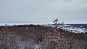 Vista panoramica delle montagne di inverno archivi video