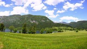 Vista panoramica delle montagne e delle valli vicino al lago Bohinj, Sloven Fotografia Stock