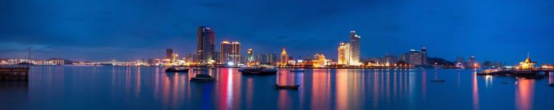 Vista panoramica dello scape di notte dell'isola di Xiamen Fotografia Stock Libera da Diritti