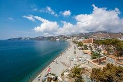 Vista panoramica di Almuñécar & di x28; Almunecar& x29; spiaggia Fotografie Stock