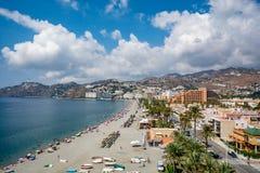 Vista panoramica di Almuñécar & di x28; Almunecar& x29; spiaggia Immagine Stock Libera da Diritti