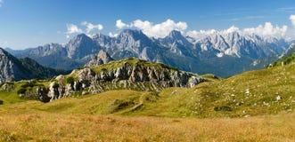 Vista panoramica di Alpi Dolomiti Fotografia Stock
