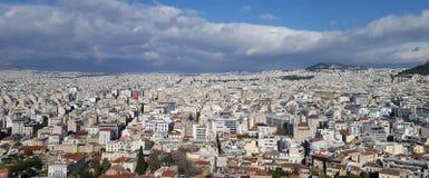 Vista panoramica di Atene dall'acropoli fotografia stock libera da diritti