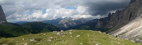 Vista panoramica di bello paesaggio della montagna della dolomia Fotografia Stock
