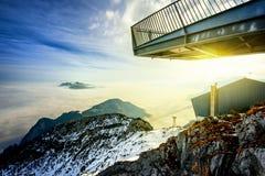 Vista panoramica di bello paesaggio della montagna di inverno Zugspitze, Germania Immagini Stock Libere da Diritti