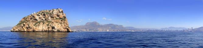 Vista panoramica di Benidorm dall'isola Fotografie Stock Libere da Diritti