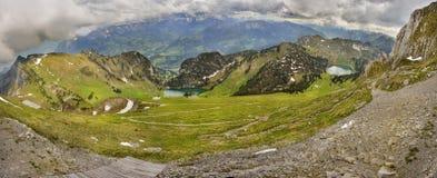Vista panoramica di Berner Oberland da Stockhorn Immagine Stock Libera da Diritti