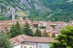 Vista panoramica di Bobbio. L'Emilia Romagna. L'Italia. Fotografia Stock Libera da Diritti