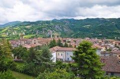 Vista panoramica di Bobbio. L'Emilia Romagna. L'Italia. Fotografie Stock