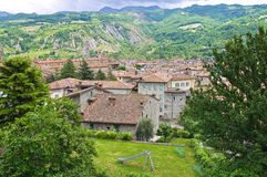 Vista panoramica di Bobbio. L'Emilia Romagna. L'Italia. Immagine Stock Libera da Diritti