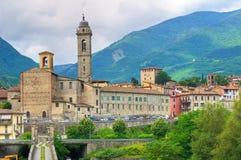 Vista panoramica di Bobbio. L'Emilia Romagna. L'Italia. Fotografia Stock