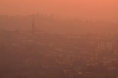Vista panoramica di Brianza al tramonto Immagini Stock Libere da Diritti