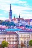 Vista panoramica di Budapest, Ungheria Immagini Stock Libere da Diritti
