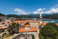 Vista panoramica di Budua Città Vecchia alta Immagine Stock Libera da Diritti
