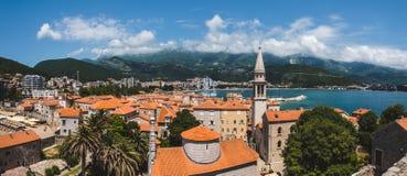 Vista panoramica di Budua Città Vecchia alta Immagini Stock Libere da Diritti