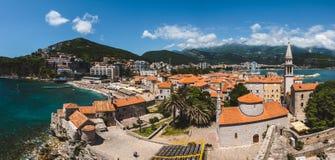 Vista panoramica di Budua Città Vecchia alta Fotografia Stock