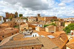 Vista panoramica di Caceres, Estremadura, Spagna fotografie stock