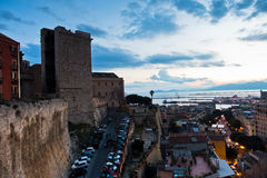 Vista panoramica di Cagliari del centro al tramonto in Sardegna Immagini Stock Libere da Diritti