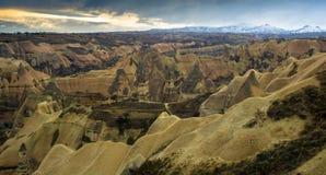 Vista panoramica di Cappadocia, Turchia Fotografie Stock