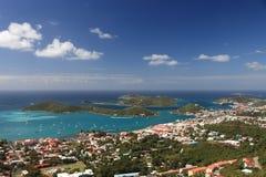 Vista panoramica di Charlotte Amalie fotografie stock