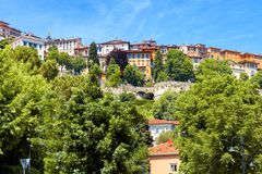 Vista panoramica di Citta Alta a Bergamo, Italia Fotografia Stock Libera da Diritti