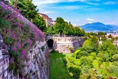 Vista panoramica di Citta Alta, vecchia città Bergamo Fotografia Stock