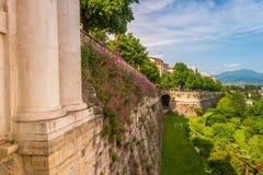 Vista panoramica di Citta Alta, vecchia città Bergamo Immagine Stock Libera da Diritti