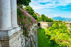 Vista panoramica di Citta Alta, vecchia città Bergamo Fotografie Stock