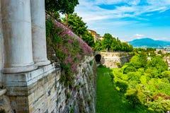 Vista panoramica di Citta Alta, vecchia città Bergamo Fotografia Stock Libera da Diritti