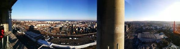 Vista panoramica di Danzica Sguardo artistico nei colori vivi d'annata Fotografia Stock Libera da Diritti