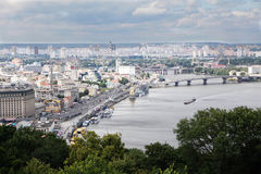 Vista panoramica di Dnipro Kiev, Kyiv Fotografie Stock