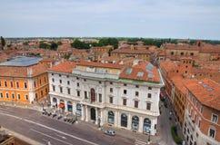 Vista panoramica di Ferrara. L'Emilia Romagna. L'Italia. Fotografie Stock Libere da Diritti
