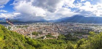 Vista panoramica di Grenoble, Rhone-Alpes, Francia Fotografia Stock Libera da Diritti