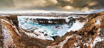 Vista panoramica di Gullfoss immagine stock