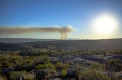 Vista panoramica di incendio violento Immagini Stock