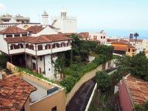 Vista panoramica di La Orotava in Tenefife che mostra mare fotografia stock libera da diritti