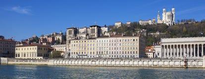 Vista panoramica di Lione con il fiume Saona Immagine Stock Libera da Diritti