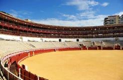 Vista panoramica di Malagueta, l'arena di Malaga, Andalusia, Spagna fotografia stock libera da diritti
