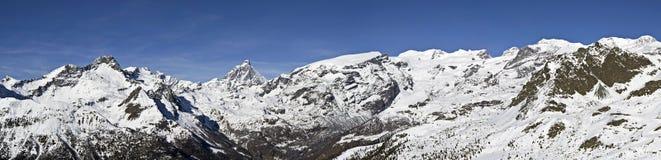 Vista panoramica di Monte Rosa e di Cervino Fotografia Stock
