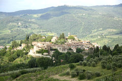 Vista panoramica di Montefioralle (Toscana, Italia) Fotografia Stock Libera da Diritti