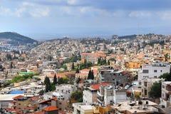 Vista panoramica di Nazaret, a nord di Israele fotografia stock libera da diritti