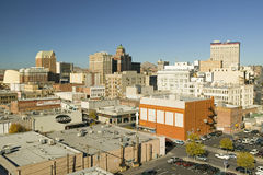 Vista panoramica di orizzonte e di El Paso del centro il Texas, città di frontiera a Juarez, Messico fotografie stock libere da diritti