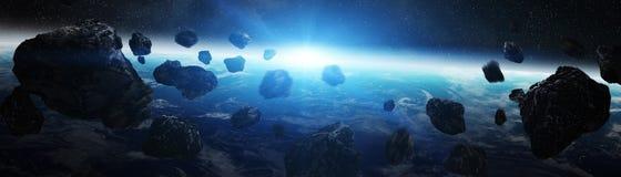 Vista panoramica di pianeta Terra con le asteroidi che pilotano 3D vicino con riferimento a illustrazione vettoriale