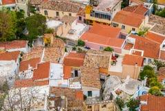Vista panoramica di Plaka da sopra in Atene Grecia Immagine Stock Libera da Diritti